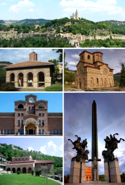 Collage of views of Veliko Tarnovo, Top:View of Tsarevets Fortress, Middle left:Saint Peter and Paul Church, Middle right:Saint Demetrius church, Bottom upper left:Boris Denev Art Gallery, Bottom lower left:Saint Forty Martyrs bChurch, Bottom right:The monument of the Assens