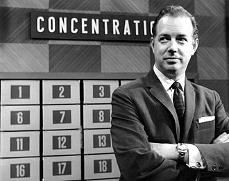 "Concentration (game show) - Hugh Downs at the 30-""square"" board before play began, 1961."