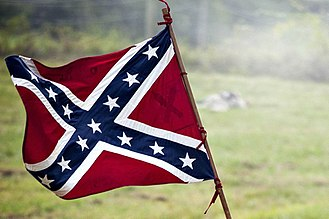 Flags of the Confederate States of America - An elongated (2:1 aspect ratio) version of the Battle Flag of the Army of Northern Virginia, and similar to The Second Confederate Navy Jack, in use from 1863 until 1865, although with the darker blue field of the Army's battle flag.