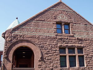 Converse Memorial Library - Image: Converse Memorial Library (Malden, MA) decorated facade