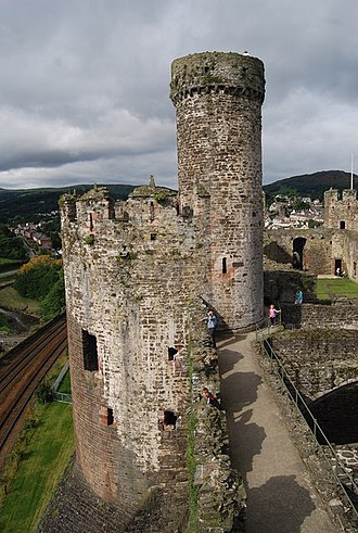 Conwy Castle - The Bakehouse Tower with watchtower, guarding the Inner Ward, overlooking the North Wales Coast Line