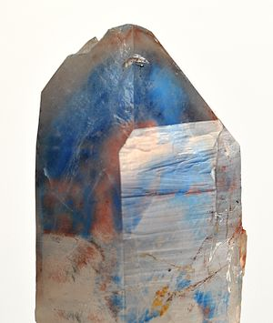 Musina - Copper and Papagoite in Quartz, specimen from the old Messina mine. Such crystals are highly desirable to mineral collectors.