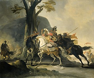 Battle of the Granicus - Alexander the Great in the battle against the Persians at the Granicus. Cornelis Troost, 1737.