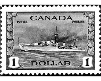 Tribal-class destroyer (1936) - A 1944 Canadian postage stamp showing a Tribal-class destroyer