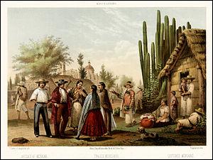 Casimiro Castro - Mexicans in a rural scene outside Mexico City (1855)