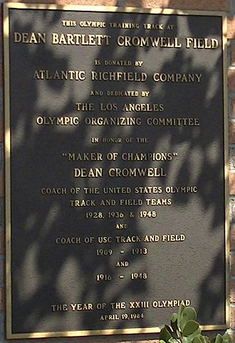 "Dean Cromwell - Dean Cromwell plaque at USC's track and field stadium ""Cromwell Field"""