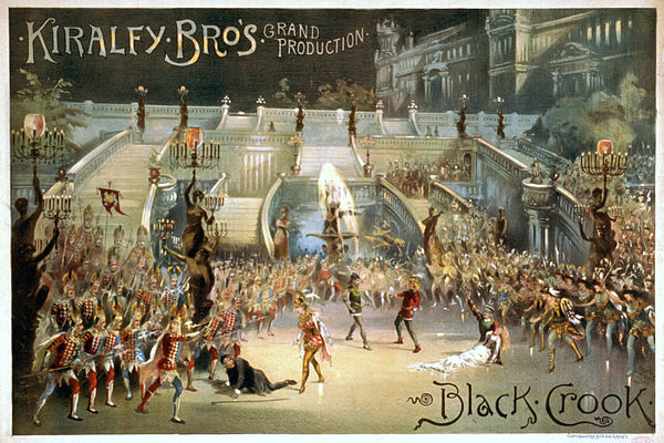 The Black Crook (1866), considered by some historians to be the first musical. Poster for the 1873 revival by The Kiralfy Brothers. Crookfinale.jpg