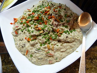 Israeli cuisine - Israeli eggplant salad with mayonnaise
