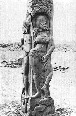 Saraca asoca - Yakshi under a stylized ashoka tree. Railing figure at Bharhut Stupa, 2nd century BC, India