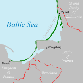 In 1649, Kursenieki settlements along the Baltic coastline of East Prussia spanned from Memel (Klaipeda) to Danzig (Gdansk). Curonians kursenieki in 1649.png