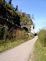 Cycle path and railway line under the Suspension Bridge - geograph.org.uk - 395866.jpg