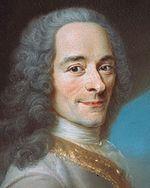 Voltaire d'après un portrait de Maurice Quentin de La Tour (détail).