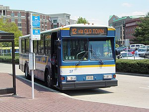 Gillig Phantom - A 1998 Gillig Phantom operated by DASH services King Street – Old Town station in Alexandria, Virginia.