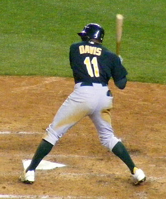 Rajai Davis - Davis batting for the Oakland Athletics in 2009