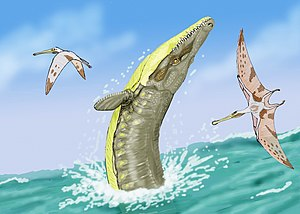 Dakosaurus - Dakosaurus maximus leaping after two pterosaurs