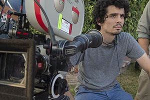 La La Land (film) - Damien Chazelle on set directing La La Land.
