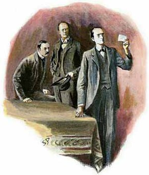 The Adventure of the Dancing Men - Holmes examining the drawing, 1903 illustration by Sidney Paget