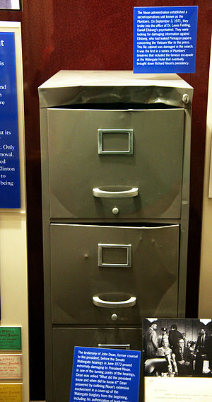 "G. Gordon Liddy - The filing cabinet of the psychiatrist of Nixon administration ""enemy"" Daniel Ellsberg who leaked the Pentagon Papers, broken into by Liddy and others in 1971, on display in the Smithsonian National Museum of American History"