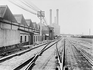 The Goods Line - The western edge of Darling Harbour yard. The back of the Ultimo Tram Depot and tramway power station – now the Powerhouse Museum – can be seen. The Goods Line passes by the tram depot and ends at the museum.