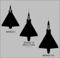 Dassault Mirage I, Mirage III, and Mirage IIIC top-view silhouettes.png