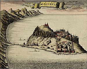 Monemvasia - Map made by F. de Witt, Amsterdam, 1680.
