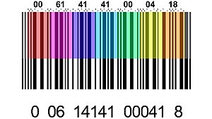 Interleaved 2 of 5 - Decoding Interleaved 2 of 5. Every pair of digits are color-coded, showing the code and the value for each digit.