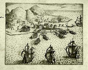 "Steven van der Hagen - ""The Dutch attack on the Portuguese at Ambon Island"". Isaac Commelin, 1645."