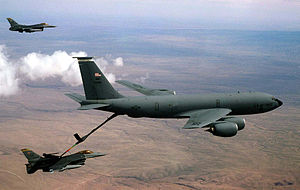 319th Air Base Wing - 319th Air Refueling Wing KC-135 refuels two F-16s of the 524th Fighter Squadron in 1997