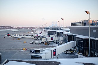 Minneapolis–Saint Paul International Airport - Delta Airlines jets parked at Concourse C