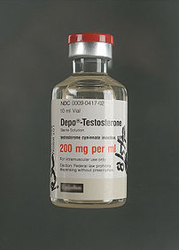A vial of the injectable anabolic steroid, dep...