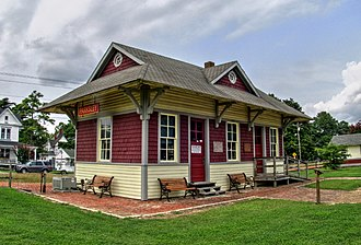 Parksley, Virginia - The former Hopeton railroad station, now restored in Parksley as part of the Eastern Shore Railway Museum