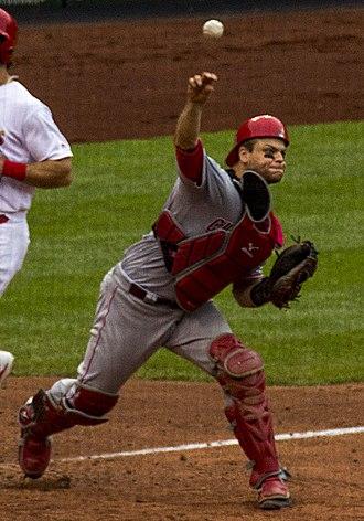 2017 Cincinnati Reds season - Devin Mesoraco throws out a runner during a bunt play, in St.Louis.