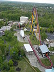 A complete overview of Diamondback, viewed from the park's 1/3 scale replica of the Eiffel Tower. Taken April 28, 2012.