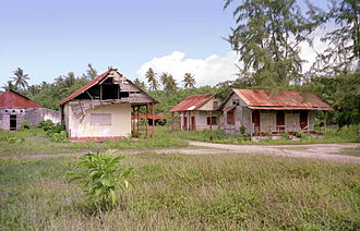 East Point, British Indian Ocean Territory - Abandoned buildings in the town