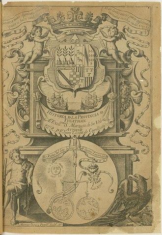 Diego López de Cogolludo - Engraved title page, Historia de Yucathan, 1688