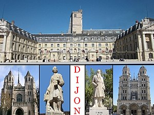 Dijon - Top: Dijon City Hall, Bottom: Saint Benigne Cathedral, Statue of Jean-Philippe Rameau, Statue of Francois Rude, Saint Michel Church