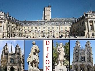 Dijon - Top: Dijon City Hall, Bottom: Saint Benigne Cathedral, Statue of Jean-Philippe Rameau, Statue of Francois Rude, Saint Michel Church
