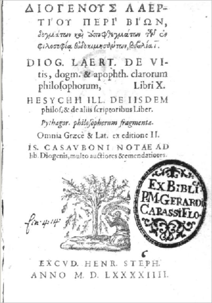 "File:Diogenes' Laertius ""Lives and Opinions of Eminent Philosophers"" translated from Greek into Latin ""Vitae et sententiae eorvm qvi in philosophia probati fvervn"" by Ambrogio Traversari from Greek into Latin, front page.PNG"