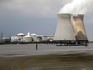 Doel Nuclear Power Station - The station from the opposite bank of the Scheldt (2013).