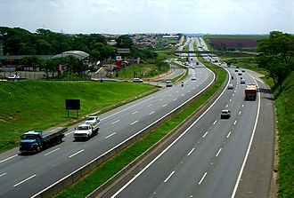 Highway system of São Paulo - Rodovia Dom Pedro I near Campinas, shows the current engineering standard of highways in São Paulo state.