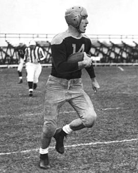 Don Hutson with the Packers; his jersey number was the first retired by the Packers (1951) Don hutson packers.jpg