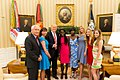 Donald Trump, Ivanka Trump, and Chibok schoolgirls Joy Bishara and Lydia Pogu, June 27, 2017 (2).jpg