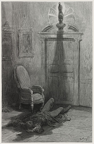 "The Raven - Gustave Doré's illustration of the final lines of the poem accompanies the phrase ""And my soul from out that shadow that lies floating on the floor/Shall be lifted--nevermore!"""