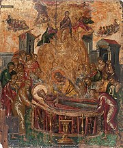 The Dormition of the Virgin (before 1567, tempera and gold on panel, 61,4×45cm, Holy Cathedral of the Dormition of the Virgin, Hermoupolis, Syros) was probably created near the end of the artist's Cretan period. The painting combines post-Byzantine and Italian mannerist stylistic and iconographic elements.