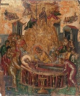 Η Κοίμηση της Παναγίας, περ. 1567, τέμπερα σε ξύλο, 61,4x45 εκ., Ερμούπολη, Εκκλησία της Κοίμησης της Παναγίας