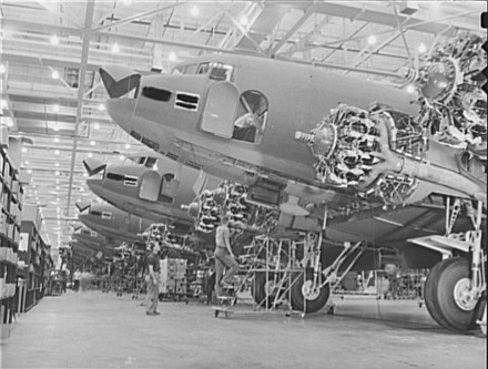 C-47 transport planes being built in Douglas Aircraft Company plant in Long Beach during World War II Douglas Aircraft plant, Long Beach, CA.tiff