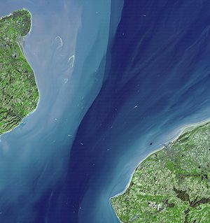 Strait of Dover - NASA Terra satellite image, March 2001