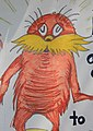 Drawing of the Lorax on a placard, at the People's Climate March 2017 (cropped).jpg