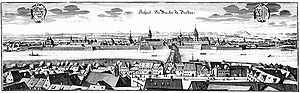 Johann Paul von Westhoff - A panorama of Dresden in 1650, engraving by Matthäus Merian.