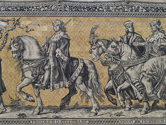 Ernest, Elector of Saxony - Frederick I, Elector of Saxony (1381–1428), Ernest, Elector of Saxony (1464–1486) and Frederick II, Elector of Saxony (1428–1464); Fürstenzug, Dresden, Germany